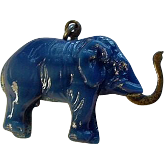 Vintage Czech Glass Elephant Charm with BRASS Trunk