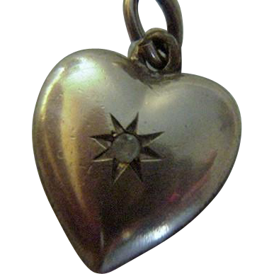 Antique Gold Filled Puffy Heart Charm with Crystal Stone 1900