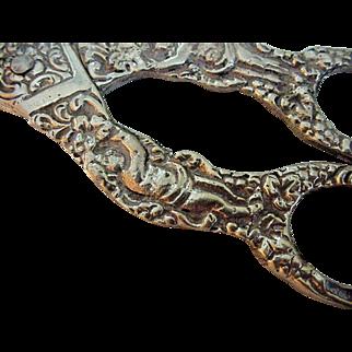 Vintage Bellini Putti Angel Silver Plate Grape Scissors Shears