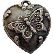 "Butterfly Sterling Puffy Heart Charm ""MJ"""
