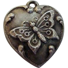 """Butterfly Sterling Puffy Heart Charm """"MJ"""""""