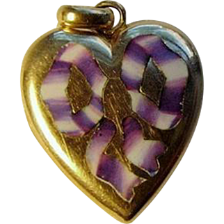 9ct Gold Enamel Heart Charm Locket Purple Lavender Ribbon Bow