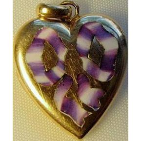 9ct Gold Enamel Heart Charm Locket Purple Lavender Ribbon Bow