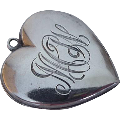 Vintage Large Sterling Puffy Heart Charm Pendant WHISTLE