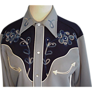 H Bar C Blue Rhinestone Western Wear Embroidered Shirt