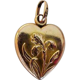 1914 French Iris Heart Charm, Gold Filled FIX