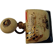 Japanese Ox Bone Inro Netsuke Bag Charm Opens to Dice