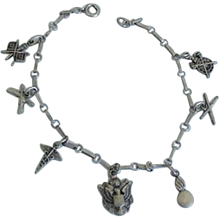 Unique & Different WWI Military Charm Bracelet of Symbols Insignias of Arms of Service