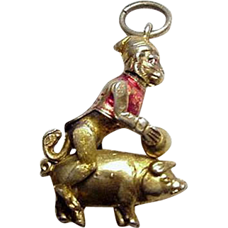 RARE Mechanical Monkey Riding Pig, Banging Him With Ball Charm, Sterling Gilt Enamel