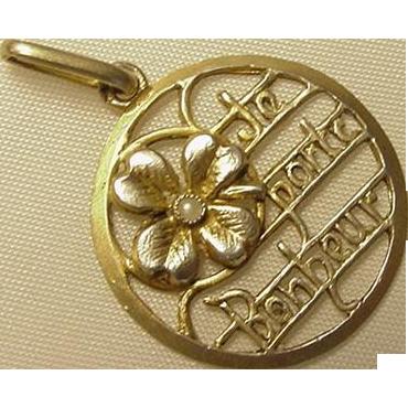 """French Art Nouveau Silver Vermeil Je Porte Bonheur """"I Bring Luck"""" Charm Pendant"""