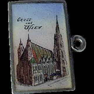 1900 Austrian Enamel Postcard Charm Wien Austria St. Stephan's Cathedral