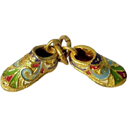 Antique Gilt Brass Enamel Two Shoes Charm ca 1900
