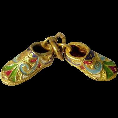 Antique Gilt Brass Enamel Two Shoes Charm ca 1900