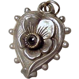French Puffy Pansy Heart Stanhope Silver Charm