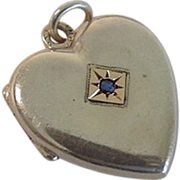 Sterling Vermeil Blue Stone Hair Heart Locket Charm