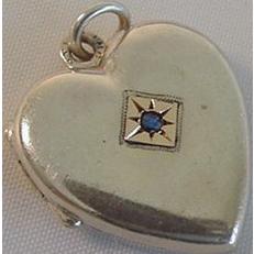 Sterling Vermeil Blue Stone Hair Heart Locket Charm