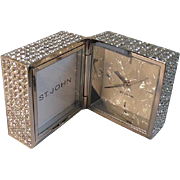 Vintage Designer St. John Clothing Swarovski Crystal Travel Clock 1970 NEW
