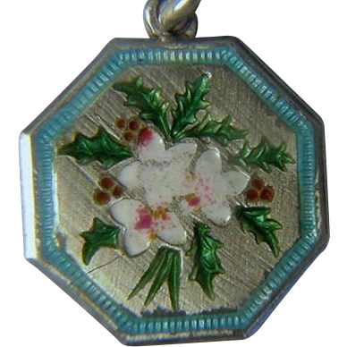 TLM Sterling Enamel Holly Charm of the Month December