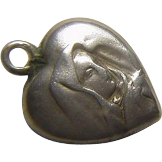 Repousse Virgin Mary Christian Puffy Heart Sterling Charm, Germany