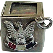 "Rare Walter Lampl 1940 Sterling Box with Flag Charm U.S. Version of ""Bundles For Britain"""