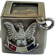 """Rare Walter Lampl 1940 Sterling Box with Flag Charm U.S. Version of """"Bundles For Britain"""""""