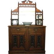 Antique Sideboard, Victorian Carved Mirror Back, server, buffet. English C.1880.