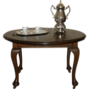 Antique Dining Table, English Mahogany Oval Queen Anne.