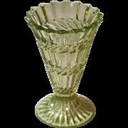 Victorian Uranium, Vaseline Glass Small Vase. Henry Greener, C.1880.