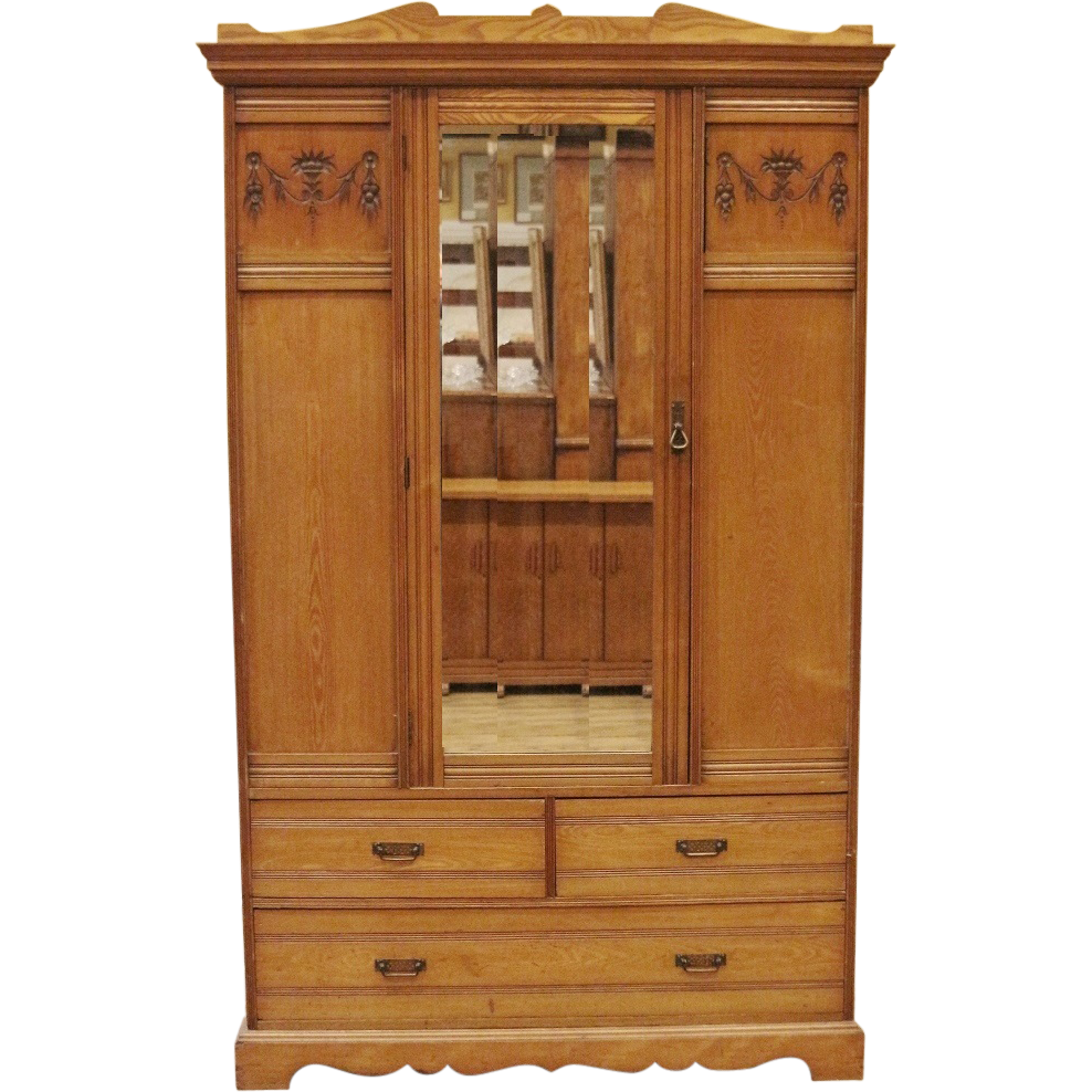 Antique Wardrobe, Armoire, English, Late Victorian, Carved Elm.