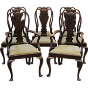 Antique Dining Chairs, Queen Anne Style, Mahogany, English, Set of 8.