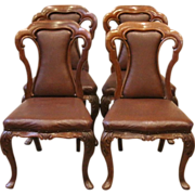 Antique Dining Chairs, English Victorian Carved Rosewood. Set of 4