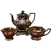 Victorian Black & Copper Luster, Enameled Red Ware Tea Set. English C.1860.