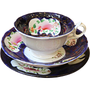 Antique Tea Cup, Saucer & Side Plate Trio, Gaudy Welsh, Columbine pattern, 19th C.