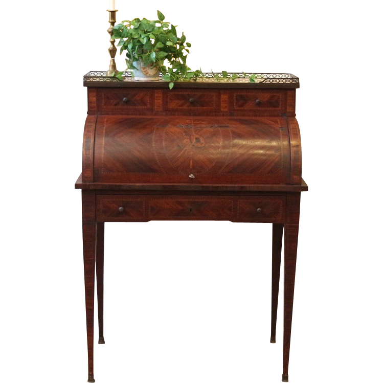 Antique French Desk, Cylinder roll, Marquetry Inlay, Marble Top with Brass  Gallery. - Antique French Desk, Cylinder Roll, Marquetry Inlay, Marble Top