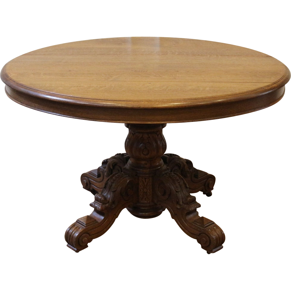 Antique carved oak pedestal dining table french sold on ruby lane - Antiques dining tables ...
