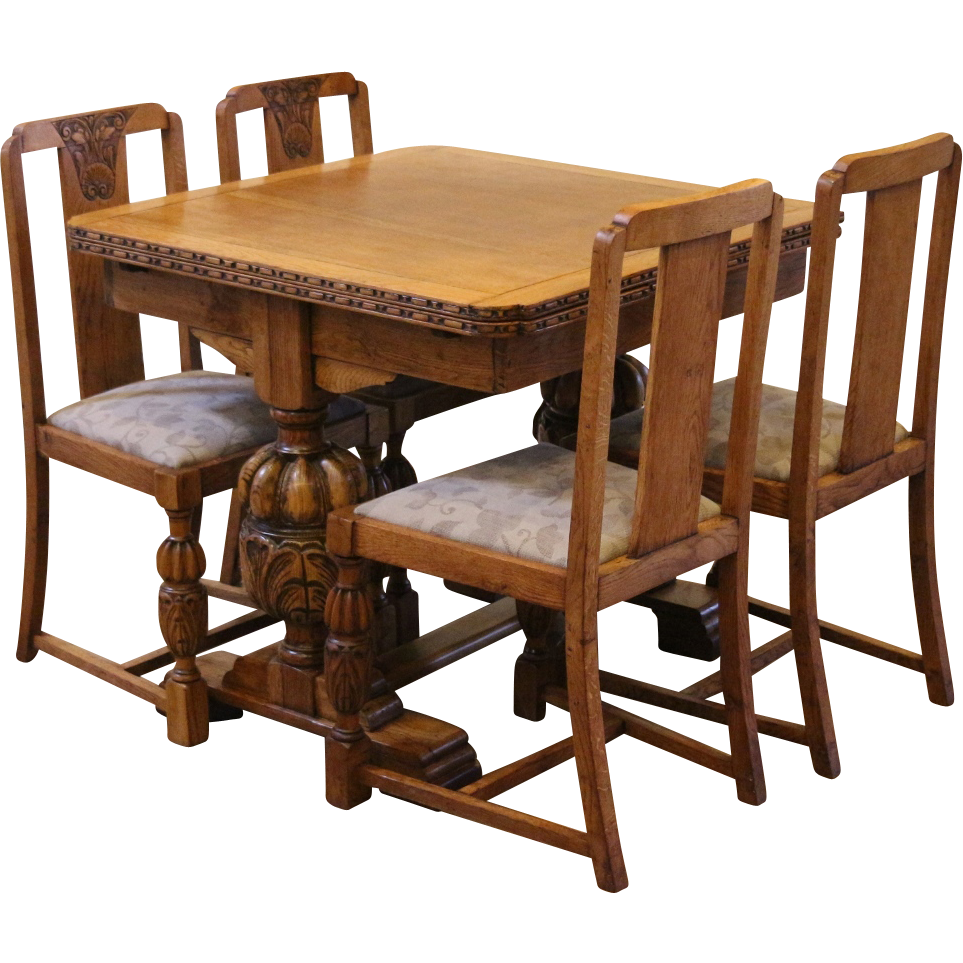 Antique draw leaf pub dining table and chairs set carved for Dining chairs and tables