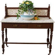 Antique Wash Stand, Tile Back, Marble Top, English.