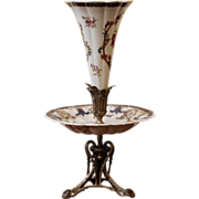 Art Nouveau Epergne, Ceramic & Bronze.