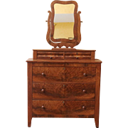 Antique Mirrored Dresser, Empire Style, American C.1880.