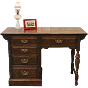 Antique Oak Desk, English, Carved, Barley Twist.