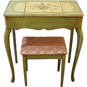 Antique French Provincial Vanity Table, Hand Painted Dressing Table with Stool