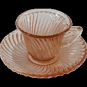 Vintage Pink Federal Glass Demitasse Cup & Saucer.