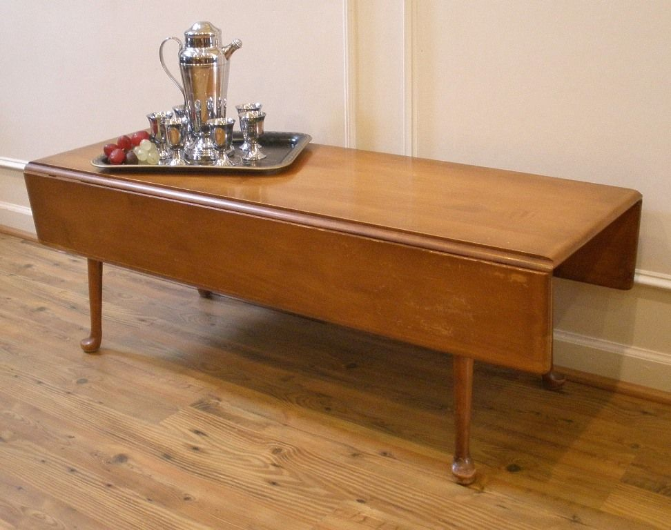 vintage coffee table, american maple country style drop leaf. sold
