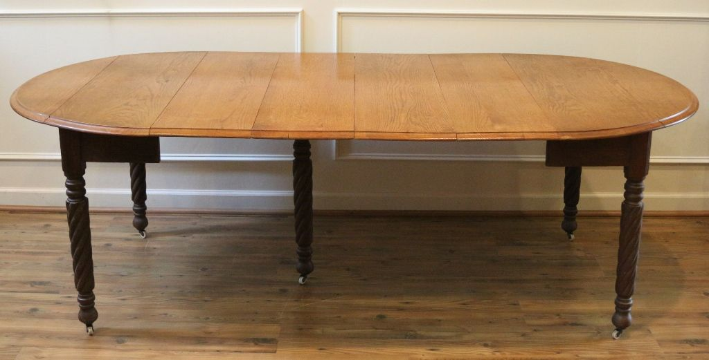 Antique dining table american oak round drop leaf for Large round dining table with leaf