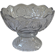 Antique Punch Bowl, Large, Pressed Glass, New Martinsville, Carnation Pattern.