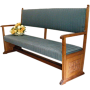 Antique English Carved Mahogany Upholstered Bench, Settle, Church Pew.