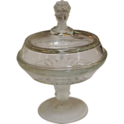 Vintage Three Face Pressed Glass Covered Compote.