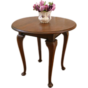 Antique Side Table, Round Queen Anne, Center, Dining Table.