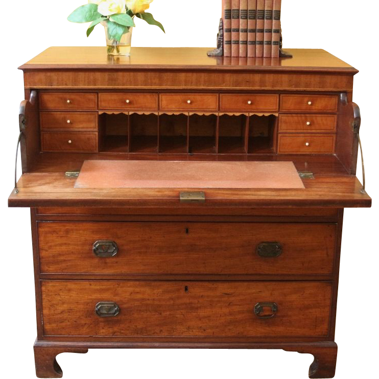 Antique Butlers Chest of Drawer, Desk, Georgian Mahogany Secretaire, Bureau. -FREE SHIPPING-
