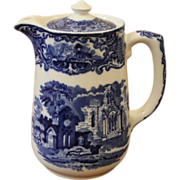 Flow Blue & White Small Chocolate Pot, Gorge Jones & Sons, England.